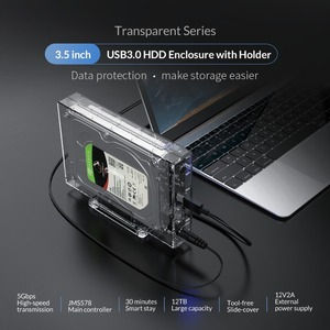 Image 2 - ORICO 3.5 inch SATA to USB 3.0 HDD Case with Holder Support 12TB Max Transparent Hard Drive Enclosure