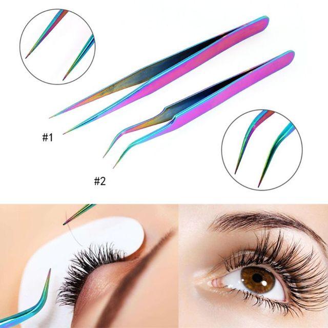 Recto de acero inoxidable curva pestañas pinzas color Arco Iris falsas extensión de pestañas pinzas señaló Clip profesión