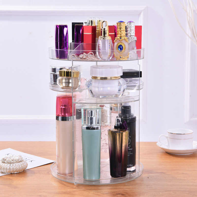 Clear Makeup Organizer Rotatable Cosmetic Jewelry Storage Holder for Lipsticks Eyeshadow Nail Polish QS888