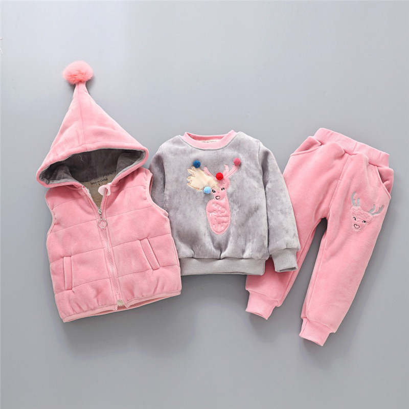 Children's Clothing Sets Winter Baby Girl Clothes Suit For Toddler Autumn Warm Hooded 3PCS Vest + Long Sleeves + pants 1-3 Year 3