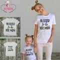 Madre E Hija de Ropa Nueva Familia Trajes A Juego Blanco de Manga Corta T-shirt Mamá Y Yo Ropa Mujeres Ropa de Verano