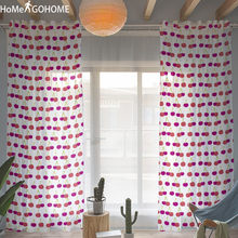 Tulle Curtains for Living Room Red Cherry 3D Kitchen Modern Art Decor Window Sheer Divider Voile Curtain Single Panel