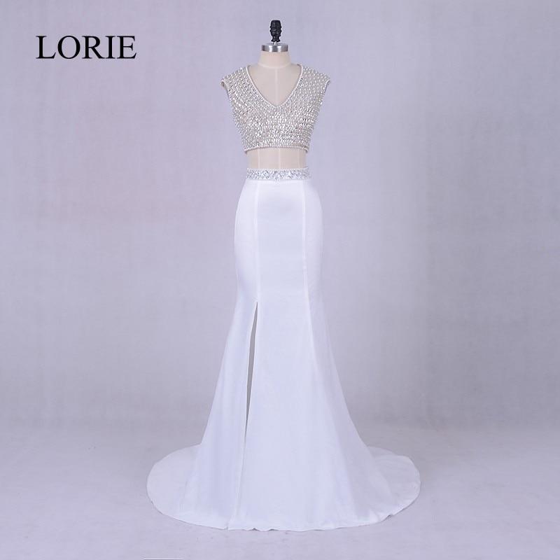 Bling 2 Piece   Prom     Dresses   Mermaid 2018 LORIE White Evening   Dress   Side Split Robe De Soiree Graduation Party Gowns Open Back