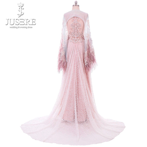 Image 5 - Straight Column Beading Illusion Bodice Detail Lace Appliques Shoulder Cap Feather Edge Big Long Train Pink Evening Dress 2018