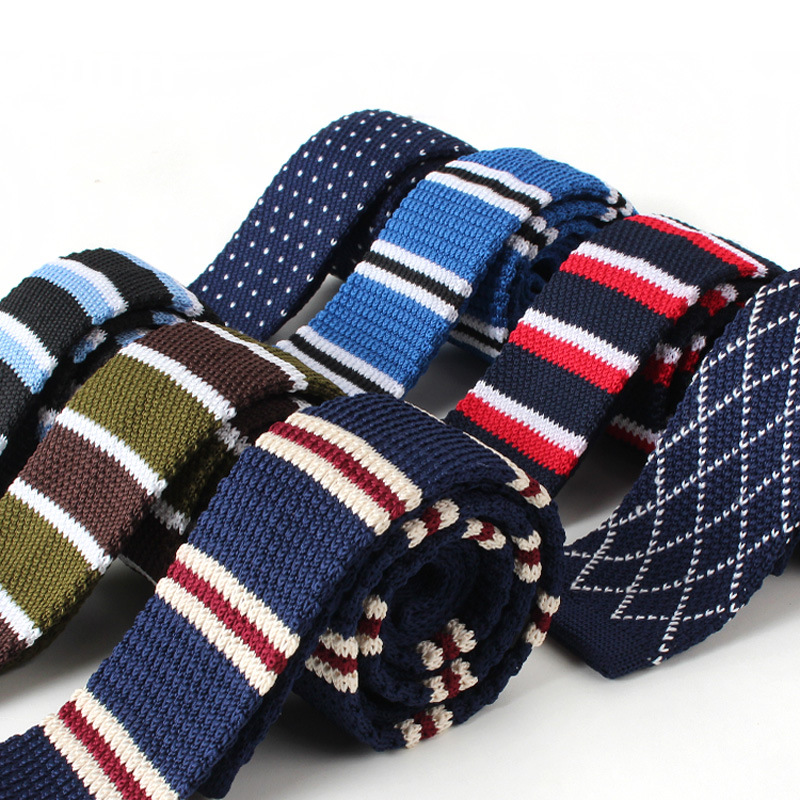 Men Knitted Knit Leisure Striped Ties Fashion Skinny Narrow Slim Dot Neck Ties For Men Skinny Woven Designer Cravat For Man