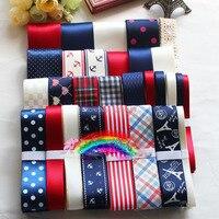 29 METROS Vermelho Azul Branco material de hairpin DIY Arcos grosgrain/cetim/laço do algodão costela fita dot fita impressa set para a decoração do casamento