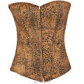 Sexy style  tiger pattern printed  Overbust corset lace trim corsets for women Free shipping woman slim corset