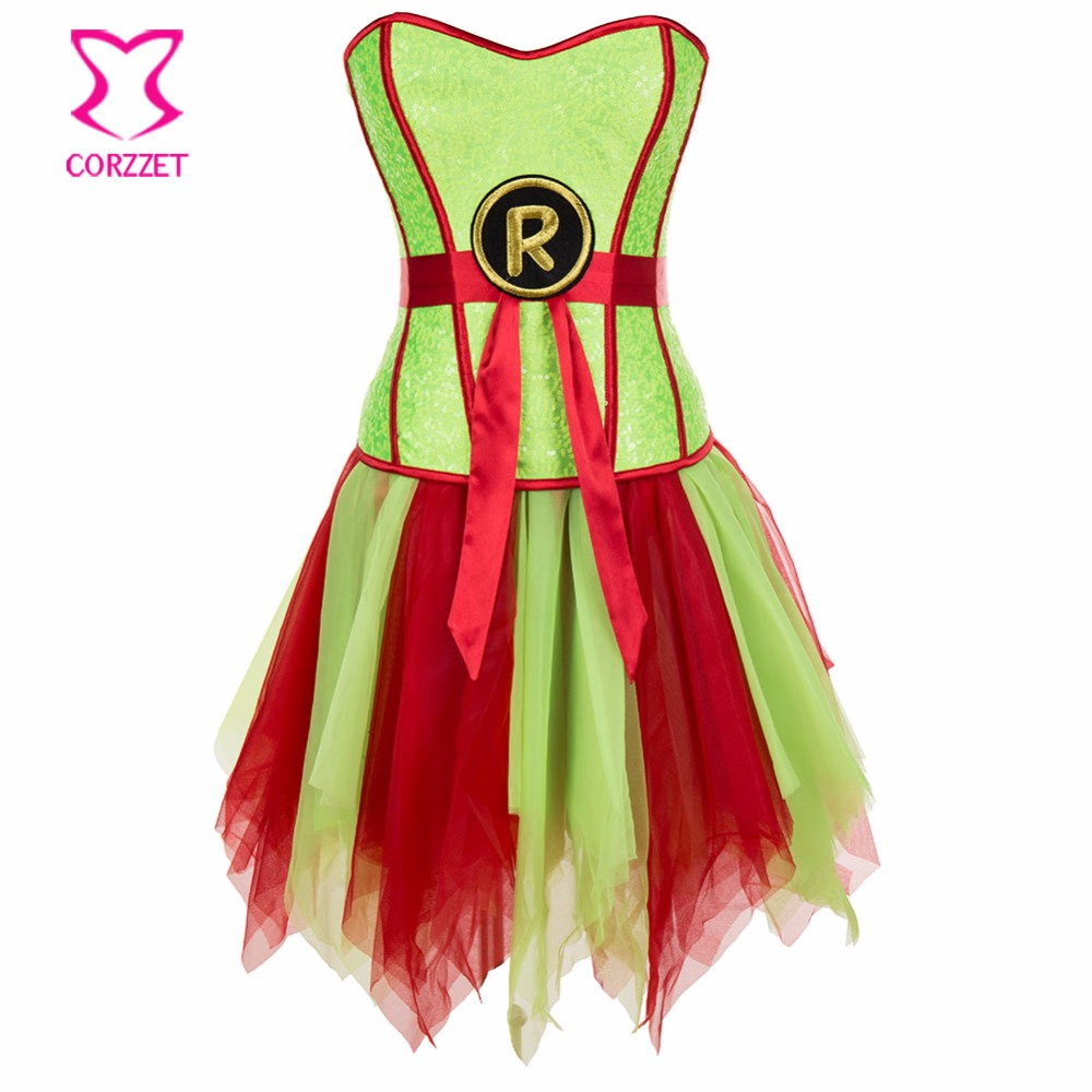 Burlesque Neon Green Sequins Bustier Corset Dress Gothic Clothing Korsett For Women Sexy Supergirl Corset Skirt Fancy Dresses Convenience Goods Bustiers & Corsets Underwear & Sleepwears