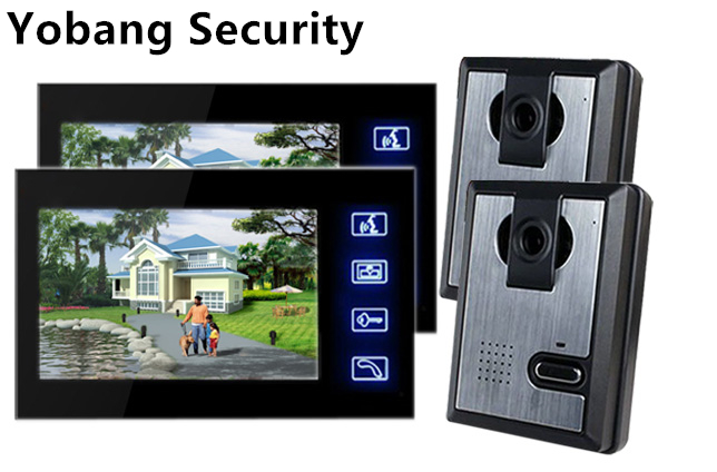 Yobang Security Freeship 7 TFT Color LCD Video Door Phone Doorbell Rainproof Picture/Video Record IR Night Vision Touch Key 7 inch video doorbell tft lcd hd screen wired video doorphone for villa one monitor with one metal outdoor unit night vision