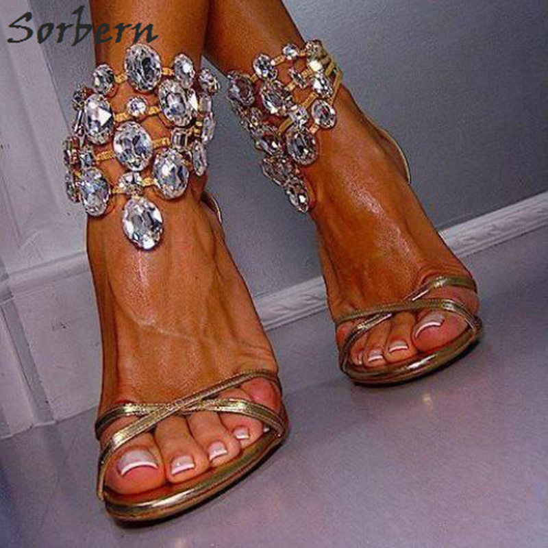 Sorbern Light Gold Clear Crystals Ankle Straps Party Sandals High Heels Women Plus Size Shoes Ladies High Heel Sandals Summer sorbern wine red t strap rivets rope wedge high heel sandals platform gold studs ankle strap summer sandals for ladies plus size
