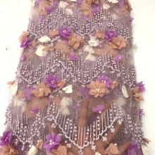 Высокое качество Французский 3D Цветы кружевная ткань последний африканский тюль кружевная ткань аппликация с бисером камни KS2120b