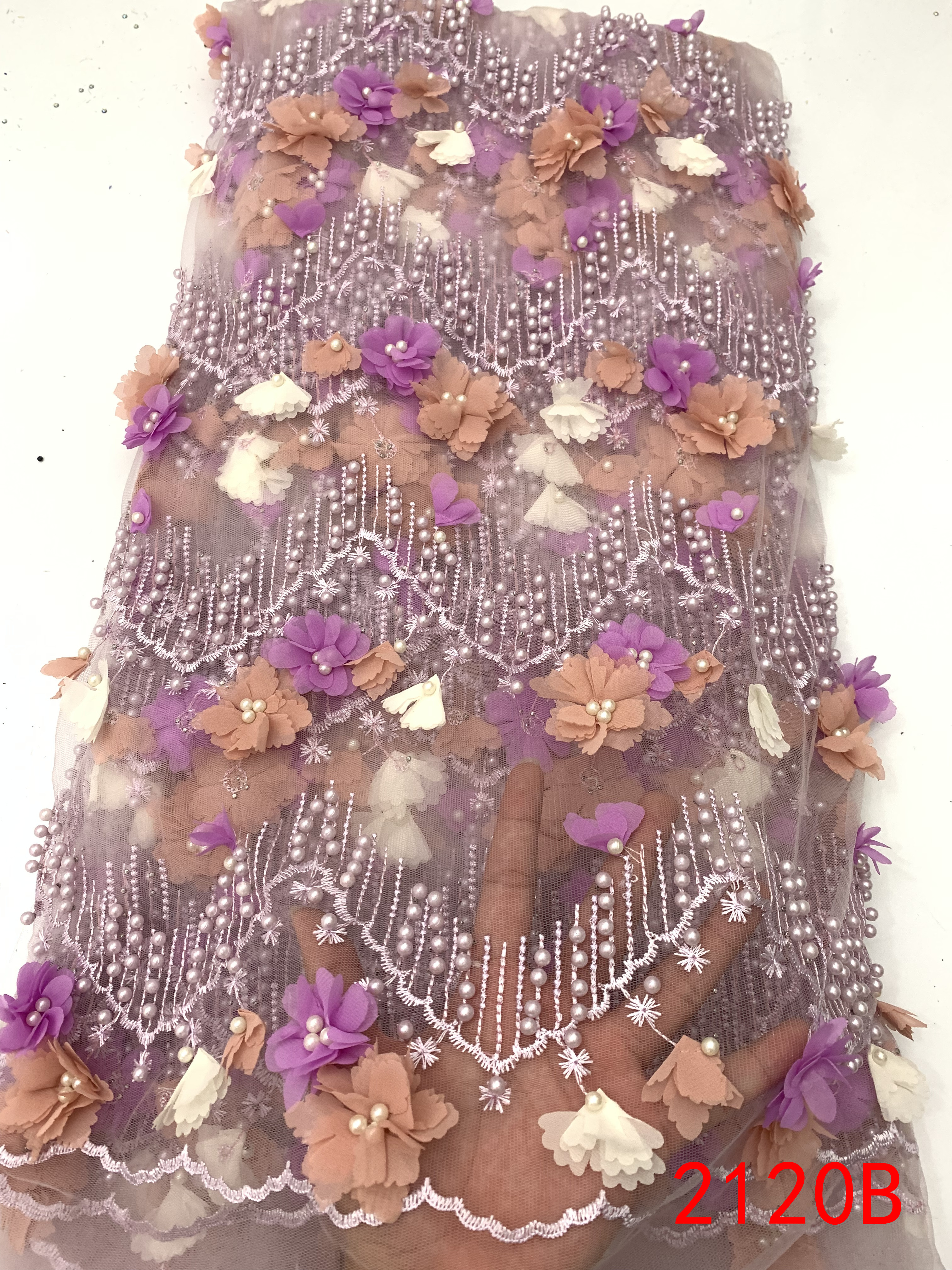 High Quality French 3D Flowers Lace Fabric Latest African Tulle Lace Fabric Applique With Beads Stones KS2120b