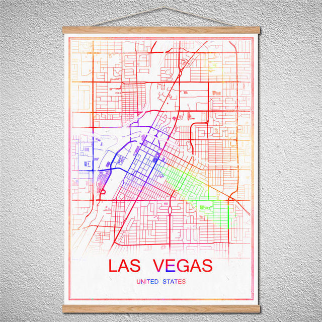 Customized Pattern Hot sale Vintage nostalgic world map of LASVEGAS poster  Wall Art Crafts With Frame Sticker for bar coffeeppub-in Wall Stickers from  ...