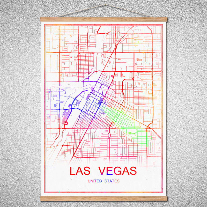 Customized Pattern Hot sale Vintage nostalgic world map of <font><b>LASVEGAS</b></font> poster Wall Art Crafts With Frame Sticker for bar coffeeppub image