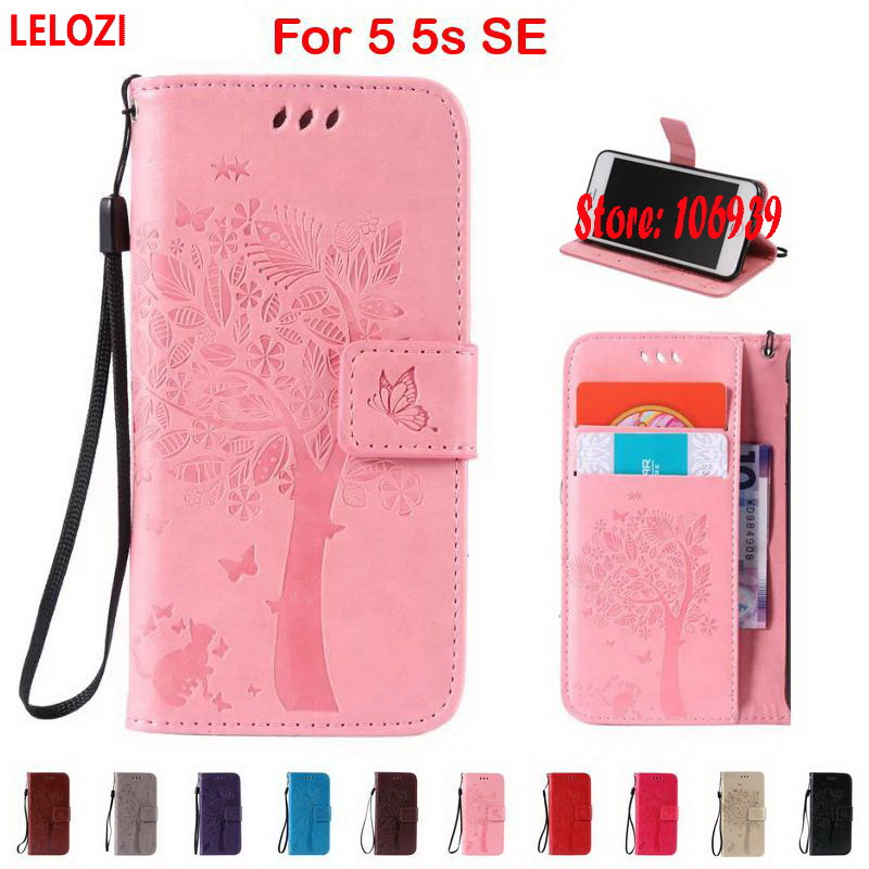 LELOZI Tree Star Cat Butterfly PU Leather Wallet Case For iPhone 5 5s SE Grey Pink Best Vintage Gold Cute Red Brown Black