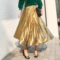 Streamer gold spring and autumn Korea metal color Europe and the United States Pleated skirt Women's high waist In the long skir