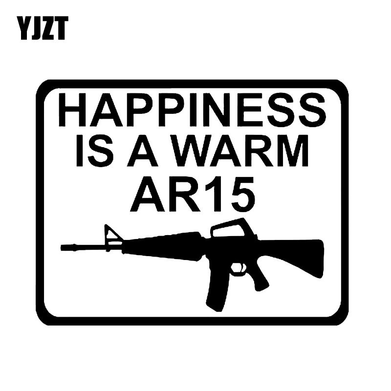 YJZT 13.8*10.8CM Interesting HAPPINESS IS A WARM AR15 Gun Car Sticker Black Silver Graphic Decoration Vinyl Accessories C12-0203 ...