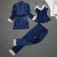 Senhoras Sexy Pijama De Cetim De Seda Conjunto Rendas Sleepwear Conjunto Moda Casa Roupas Com Decote Em V Pijamas Roupão + Top + Pant 3 Peças Para As Mulheres