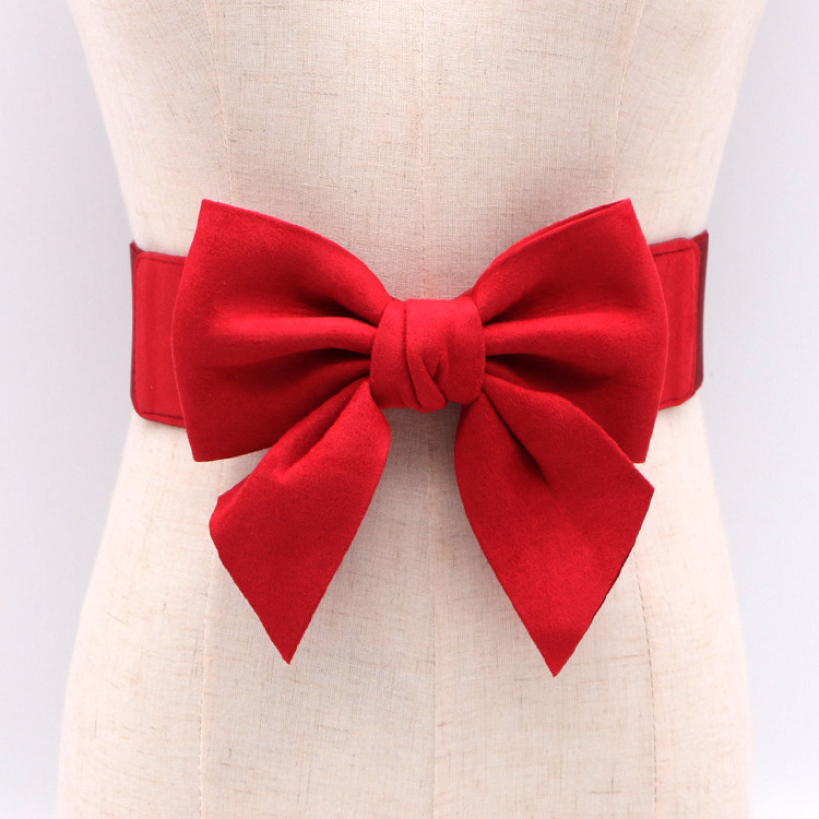 New Fashion Bowtie Waist   Belt   for Women's Dresses Shirts Bowknot Red Green Black White Elastic Cute Waistbelt Sashes All Match