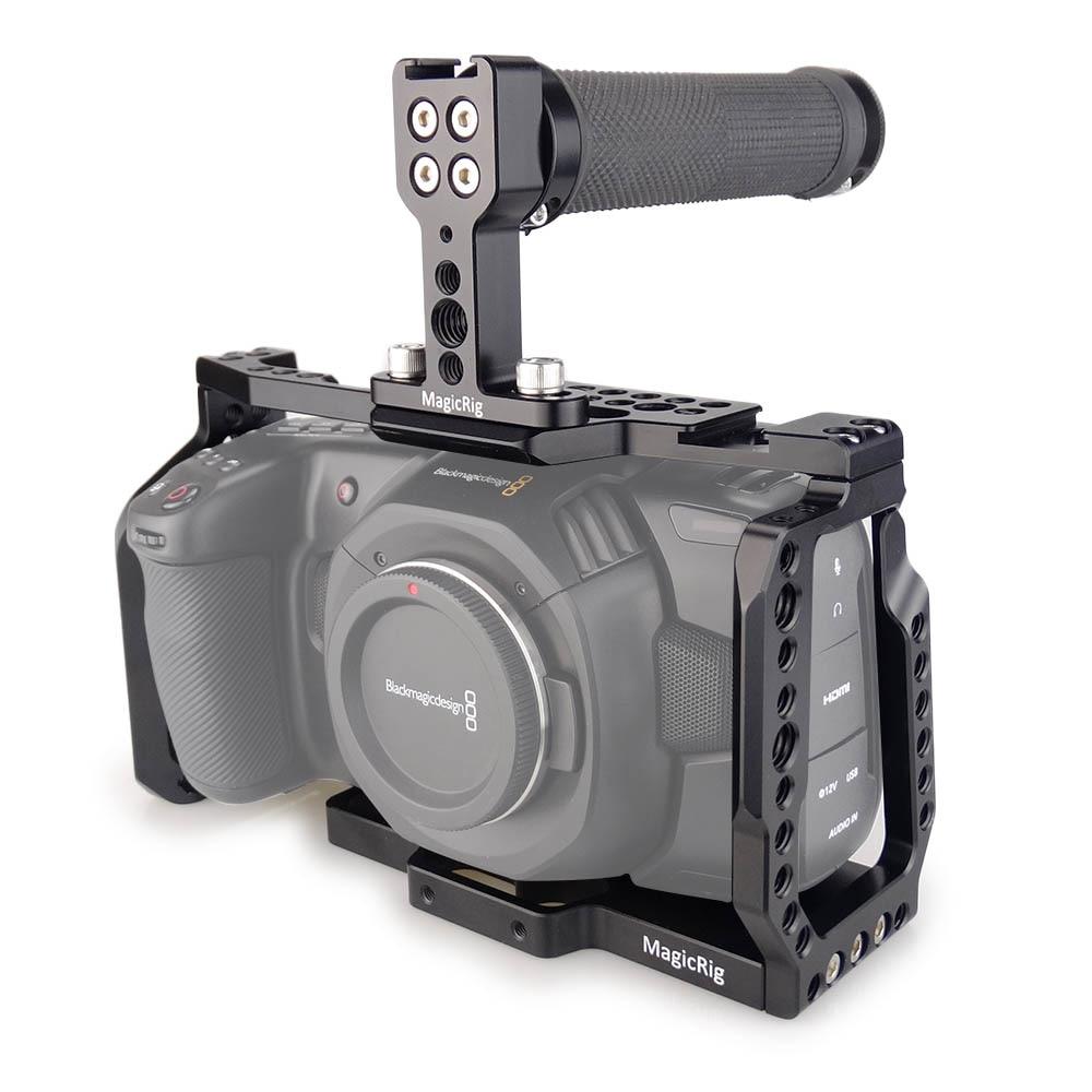 MAGICRIG BMPCC 4K Cage With Top Rubber Handle for Blackmagic Pocket Cinema Camera BMPCC 4K to