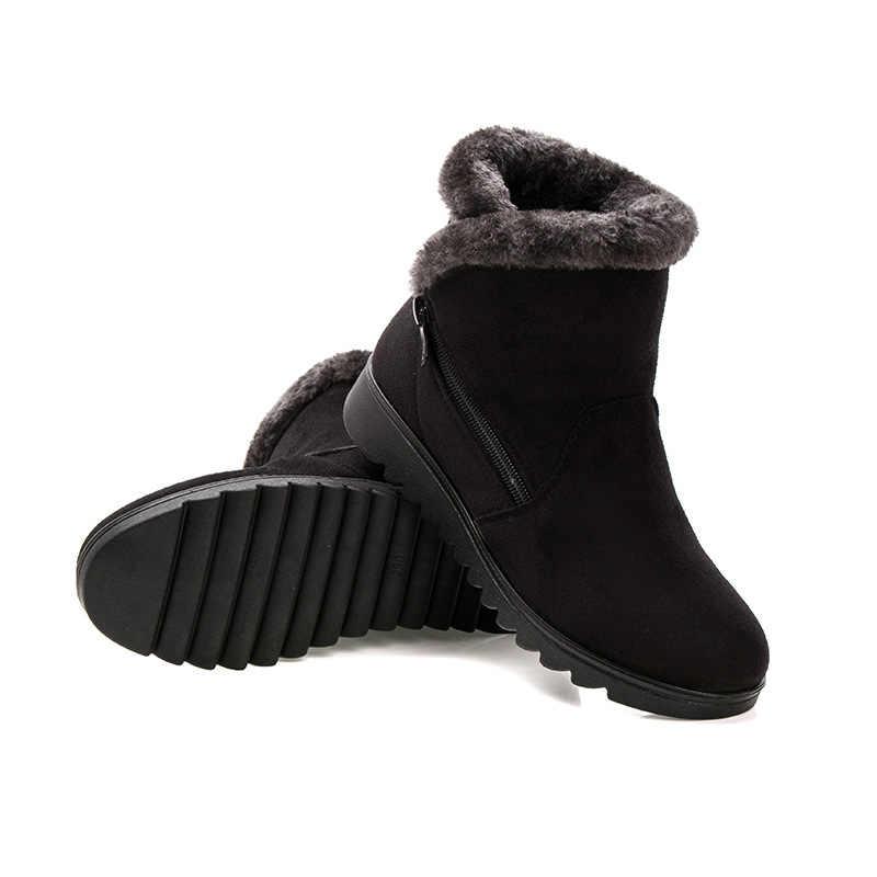BONJOMARISA Trang Sức Giọt Mùa Đông Siêu Ấm Nền Tảng Boot Nữ Thấp Nêm Cổ Chân Giày Thêm Lông Giày Người Phụ Nữ