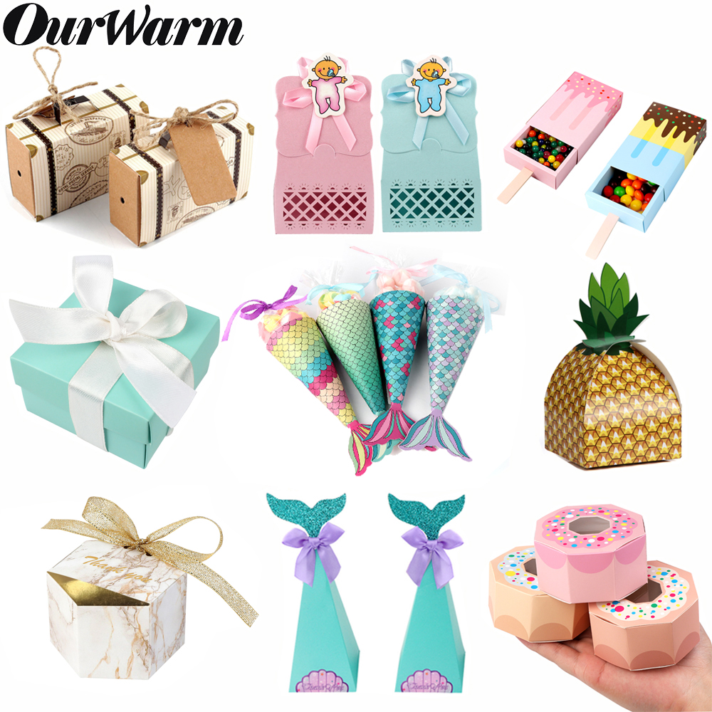 OurWarm Wedding Birthday Candy Gift Box Paper Bag Packaging Baby Shower Candy Box Gifts For Guest Birthday Party Decoration Kids