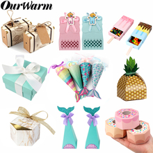 OurWarm Wedding Birthday Candy Gift Box Paper Bag Packaging Baby Shower Gifts For Guest Party Decoration Kids