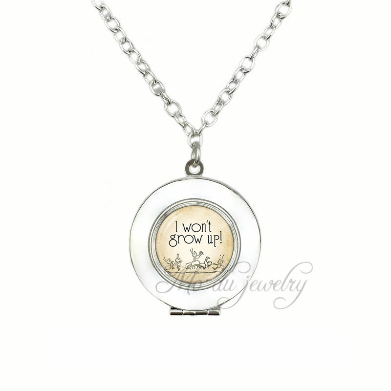 Peter pan Locket Pendant Never Grow Up Locket Necklace Neverland Glass Dome Choker Silver Plated Necklaces Jewelry locket