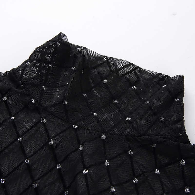 Женские, сексуальные, прозрачные Черный Боди для женщин рыболовная сеть Водолазка с длинным рукавом See Through Комбинезоны для летняя Клубная одежда