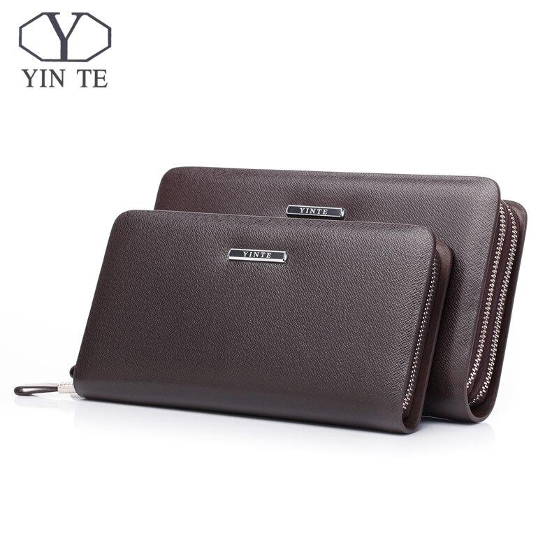 cec59de5f7ff3c Brown Yinte T028 Bag Kupplung Marke One Black Brieftaschen Geldbörse Zipper  Leder Männer Brieftasche Klassische Mode ...