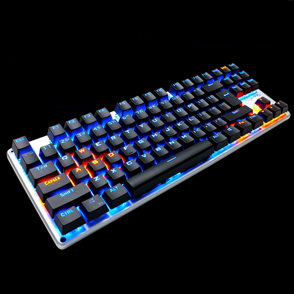 linbao gaming teclado mecnico luminoso led con cable de metal azul
