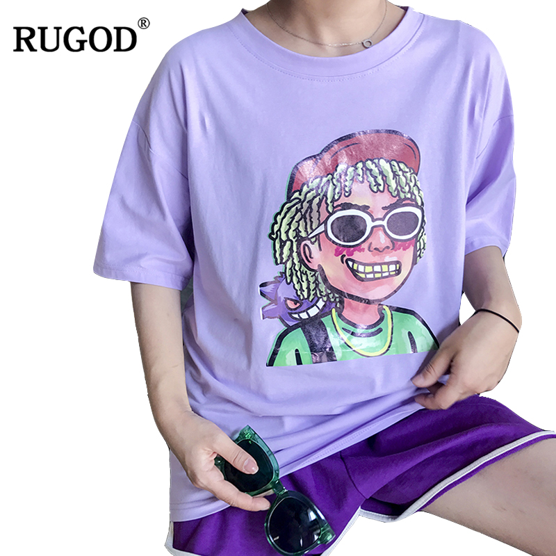 Rugod 2018 Chic Summer Funny Character Tops Women Short Sleeve Tops Casual O-neck Solid Color Female Character photo Tees
