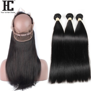HC Peruvian Straight Bundles With Frontal 360 Lace Frontal Closure With Bundles Non Remy Human Hair Weave With 360 Lace Closure image
