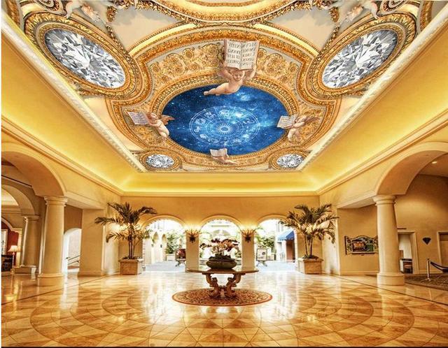 Behang Plafond Badkamer : Custom d plafond muurschilderingen schijnt luxueus behang voor