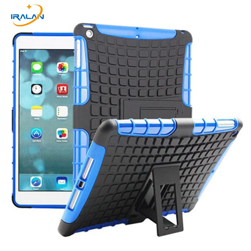 Hot Kid Safe Shockproof Hybrid TPU+PC Stand Case For Apple ipad 5 Rugged Armor Cover For ipad Air Tablet Back Shell+film+stylus hot case for ipad 5 cover shockproof kids protector case for apple ipad air case air1 cover pc silicone hybrid robot stylus pen