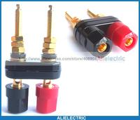 10pcs Gold Plated Double Binding Post For Speaker 4mm Banana Plug Power Amplifier