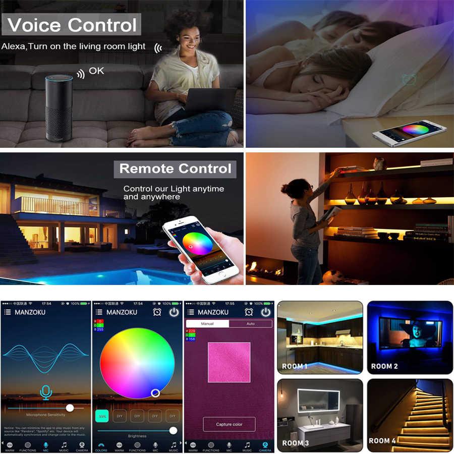 Akses Internet Nirkabel Lampu LED Strip SMD 5050 60LED 2835 RGB LED Garis Diodetape DC12V Fleksibel RGB LED Strip Pita Dioda dengan akses Internet Nirkabel Controller