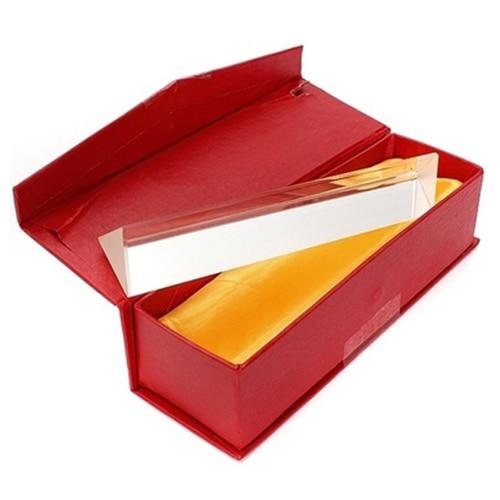 15cm x 3cm arc-en-ciel verre optique Triple prisme triangulaire physique enseignement spectre de lumière avec boîte-cadeau