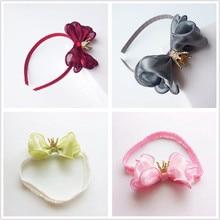 Top ranking Shining organza bowknot crown soft Headband Kids Girls Princess Hair Accessories teen student Hairband headwear D63