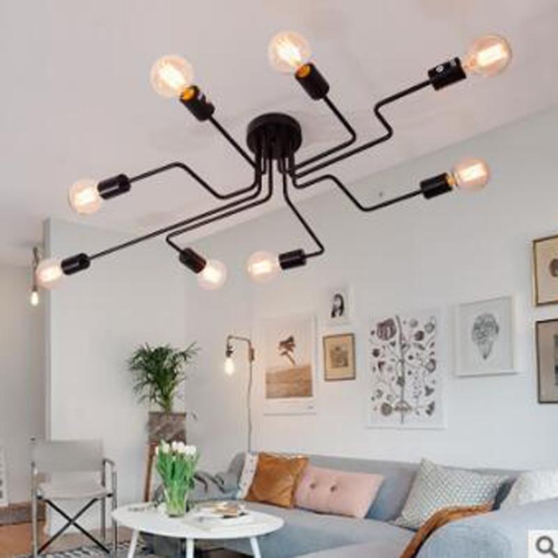 American country study creative personality Nordic minimalist modern hall bedroom living room wrought iron pipe light led lamps недорго, оригинальная цена