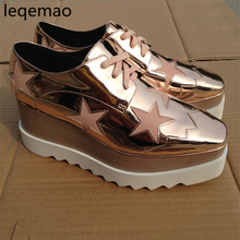 Shoes - Womens Shoes - New Luxury Fashion Women Lace-Up Casaul Shoes Genuine Leather Spring Autumn Brand Ladies Platform Wedges 8cm Shoes Size 34-40