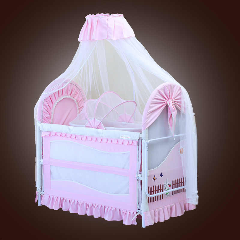Foldable New Baby  Bed With Mosquito Net Mat Set Portable Folding Crib With Multifunctional Newborn Sleep Bed Newest