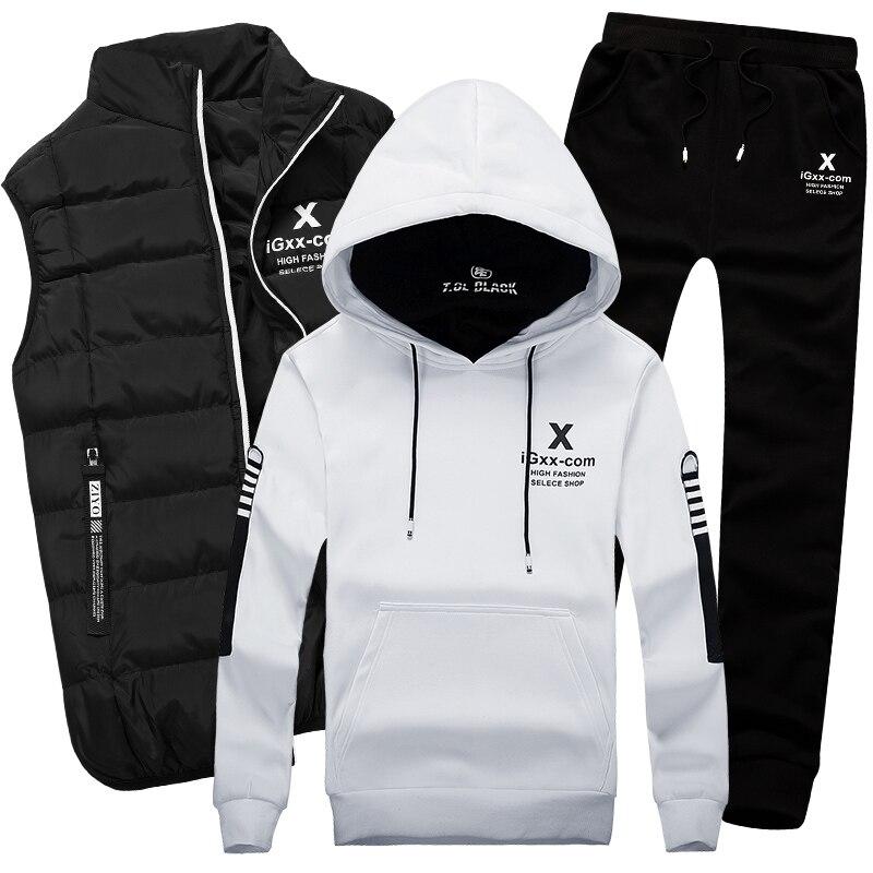 Для мужчин спортивный костюм комплект хлопок бренд жилет 3 зима теплая Толстовка Спортивная Толстовка Одежда Мужской пальт
