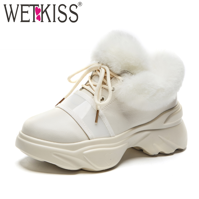 WETKISS Casual Leather Ankle Women Boots Round Toe Lace Up Flat Sole Footwear Female Boot Fur