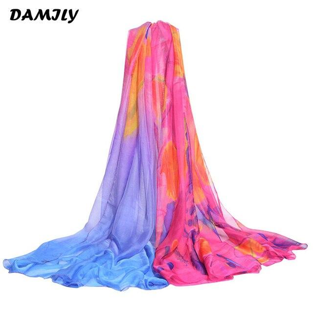 90f10ac7381 Mousseline de soie Sarong Grande Taille D été Femme Châle Echarpes Fleurs  Imprimer Paréo Plage
