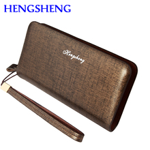 Free shipping HENGSHENG luxury leather men wallet for hot sale leather men handbags of card holder long male wallets