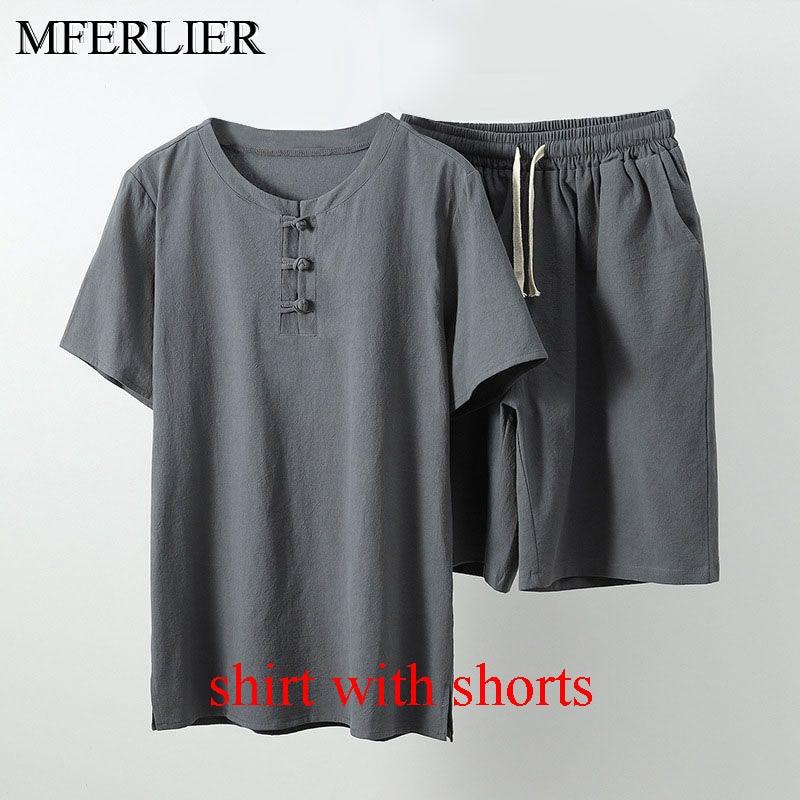 MFERLIER Summer men shirt 5XL 6XL 7XL 8XL 9XL 10XL Bust 157-162cm plus size linen large size shirt with shorts men 5 colors 13