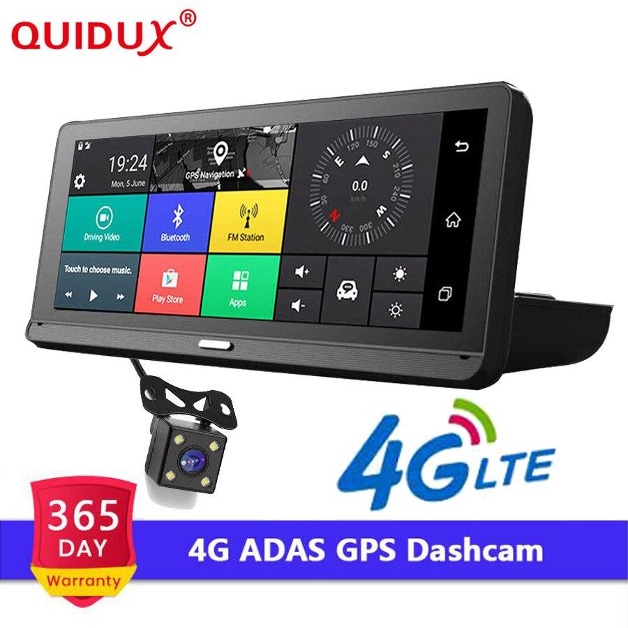 QUIDUX 8.0 ''Auto 4G ADAS Voiture DVR Dash Cam Full HD 1080 P Vue Arrière Caméra Double Lentille enregistrement De Voiture Dvr enregistreur rétroviseur