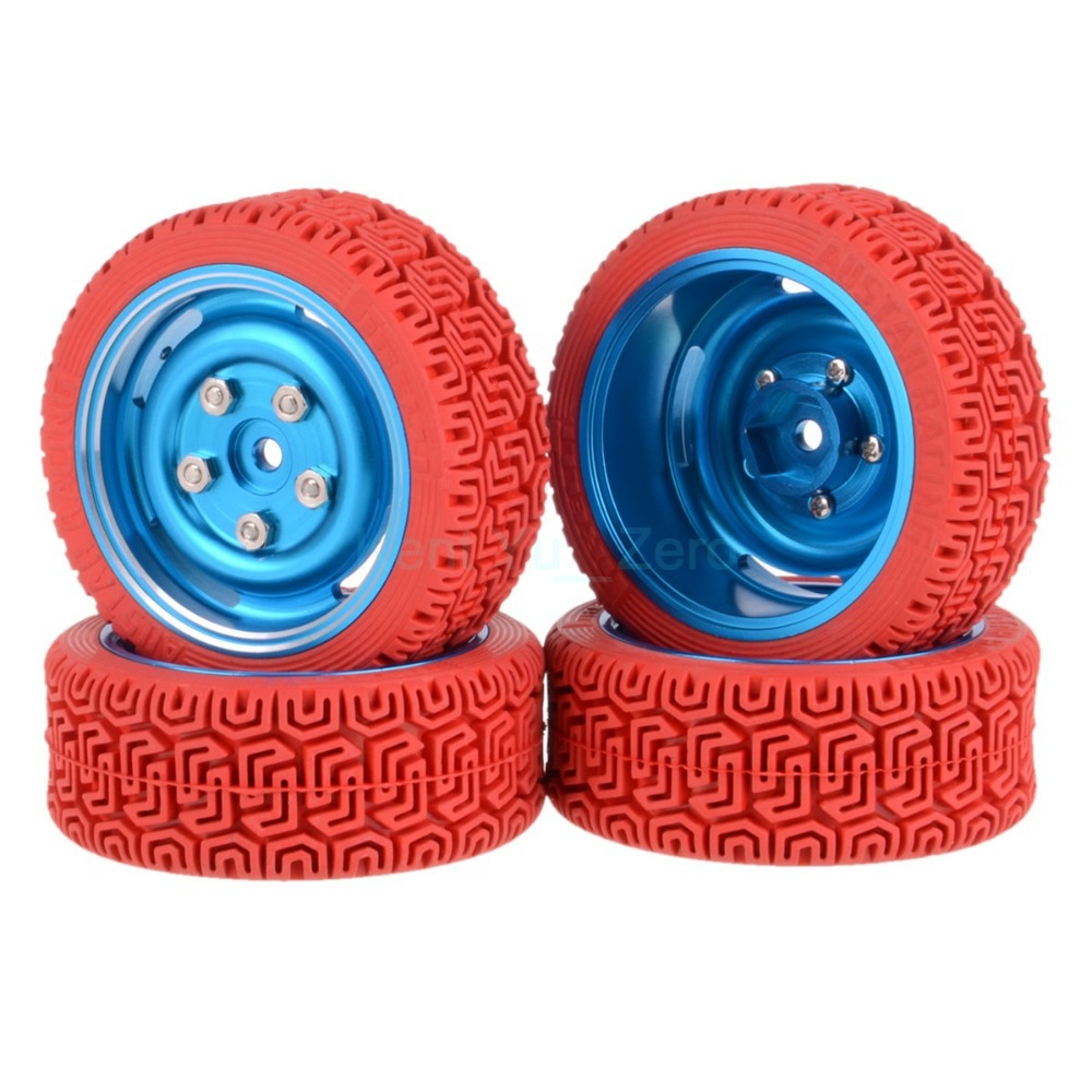 4PCS 12MM Hub HPI Redcat HSP Metal Wheel Rim & Grip Rubber Tyre,Tires,For RC 1:10 Car On Road,104B-8015 4pcs 1 10 on road rubber tyre for hsp tamiya losi rc car tyre