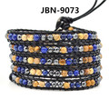 2016 New arrival mens black gallstone agate Beads weaving Leather 5X men's Bracelet with Lapis lazuli jewelry Bracelet  JBN-9073